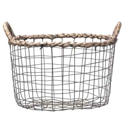 Premiere Living Braided Water Hyacinth Oval Unlined Wire Basket - Small in Dark Gray - Closeouts