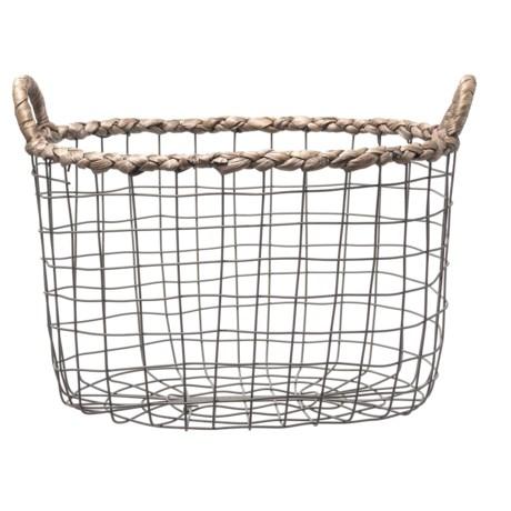 Premiere Living Braided Water Hyacinth Oval Wire Unlined Basket - Medium in Dark Gray