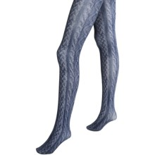Pretty Polly Printed Cable Tights (For Women) in Charcoal - Closeouts