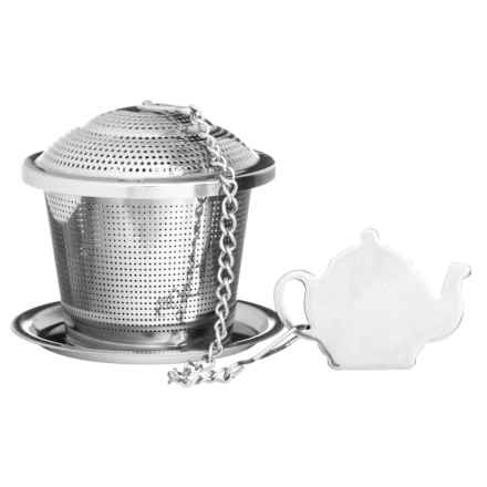 Price & Kensington Speciality Novelty Tea Infuser with Drip Tray in Stainless Steel - Closeouts