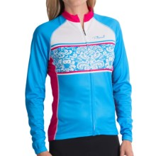 Primal Wear Damask Cycling Jersey - Full Zip, Long Sleeve (For Women) in Bright Blue - Closeouts