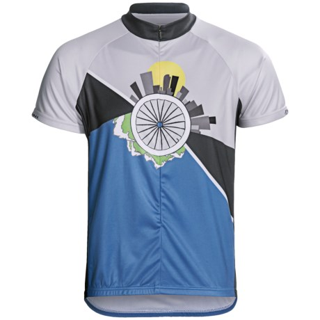 Primal Wear Ride 365 Cycling Jersey - Zip Neck, Short Sleeve (For Men) in Grey/Blue Grey