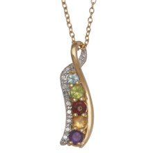 "Prime Art 18"" Journey Necklace - Semi-Precious Stones in Gar/Cit/Perd/Afrc Amest/Sky Bl Tz/Dmn - Closeouts"
