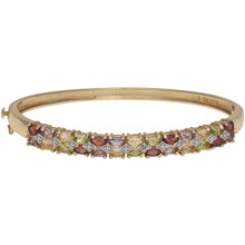 Prime Art 18K Gold Over Sterling Silver Bangle Bracelet in Peridot/Citrine/Garnet/African Amethyst - Closeouts