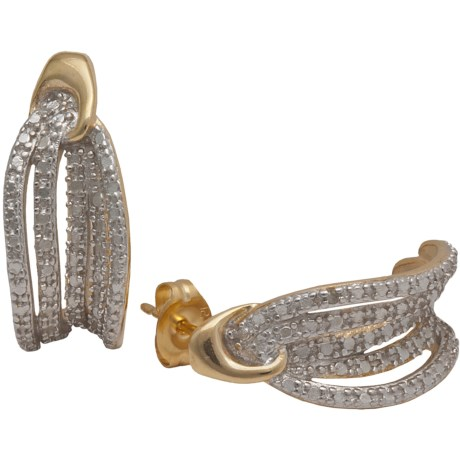 Prime Art 18K Gold-Plated Hoop Earrings in Diamond