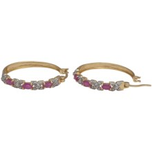 Prime Art 18K Gold-Plated Hoop Earrings in Ruby/Diamond - Closeouts