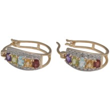 Prime Art 18K Gold-Plated Hoop Earrings - Semi-Precious Stones in Gar/Cit/Perd/Afrc Amest/Sky Bl Tz/Dmn - Closeouts
