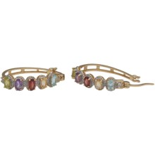 Prime Art 18K Gold-Plated Hoop Earrings - Two-Tone in Gar/Cit/Perd/Afrc Amest/Sky Bl Tz/Wht Tz - Closeouts