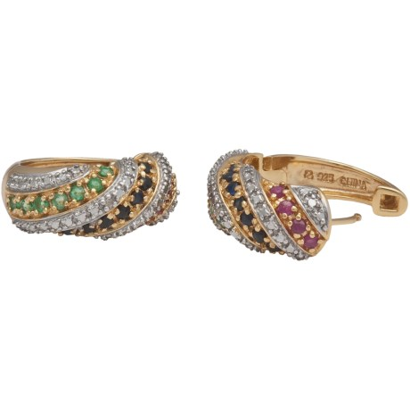 Prime Art 18K Gold-Plated Swirl Hoop Earrings in Emerald/Ruby/Sapphire/Diamond