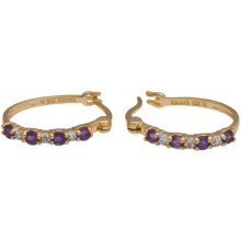 Prime Art African Amethyst Hoop Earrings - Two Tone in African Amethystdiamond - Closeouts