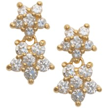 Prime Art Cubic Zirconia Star Earrings - 18K Gold Plated in Cz - Closeouts