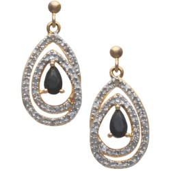 Prime Art Double Teardrop Sapphire Earrings in Sapphire/Diamond