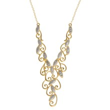 Prime Art Filagree Necklace - 18K Gold-Plated Sterling Silver in Sterling Silver/Diamond - Closeouts