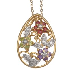 "Prime Art Floral Pendant Necklace - 18"" in African Amethyest/Garnet/Peridot/Diamond"