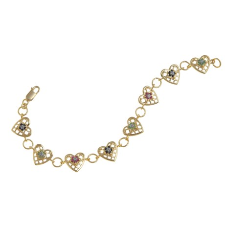 Prime Art Flower Heart Bracelet - Precious Stones, 18K Gold-Plated in Multi
