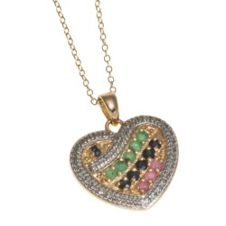Prime Art Heart Pendant Necklace - 18K Gold-Plated Sterling Silver in Emerald/Sapphire/Ruby