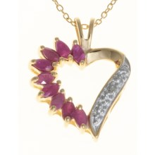 Prime Art Marquise Heart Pendant Necklace - 18K Gold-Plated Chain in Ruby - Closeouts