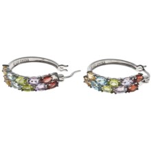 Prime Art Multi-Gemstone Hoop Earrings in Gar/Cit/Perd/Brzl Amest/Sky Bl Tz - Closeouts