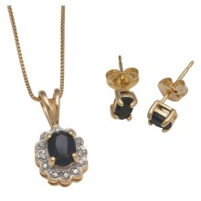 "Prime Art Sapphire 18"" Necklace and Earring Set - 18K Gold Plated in Sapphire/Diamond - Closeouts"