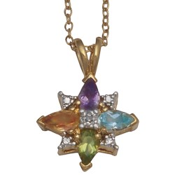 "Prime Art Starburst Necklace - 18"" in Amethyst/Peridot/Citrine/Sky Blue Topaz/Diamond"