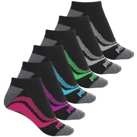 Prince All-Around Comfort No-Show Socks - 6-Pack, Below the Ankle (For Women) in Black W/ Multi - Closeouts