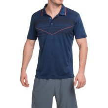 Prince Chest-Stripe Polo Shirt - Short Sleeve (For Men) in Navy Heather - Closeouts