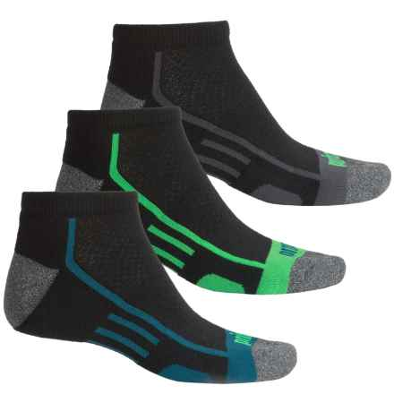 Prince High-Performance Plus Socks - 3-Pack, Below the Ankle (For Men) in Black W/Grey/Blue/Green - Closeouts