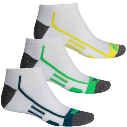 Prince High-Performance Plus Socks - 3-Pack, Below the Ankle (For Men) in White W/Spring/Blue/Green - Closeouts