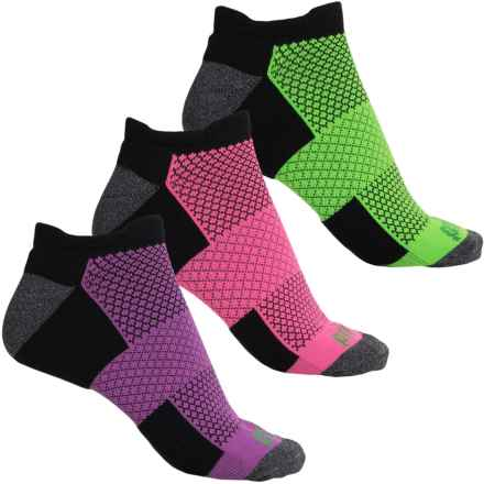 Prince High-Performance Plus Socks - 3-Pack, Below the Ankle (For Women) in Black W/Lime/Pink/Purple - Closeouts