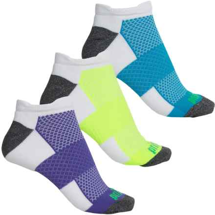 Prince High-Performance Plus Socks - 3-Pack, Below the Ankle (For Women) in White W/Purple/Yellow/Blue - Closeouts
