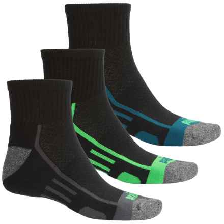 Prince High-Performance Plus Socks - 3-Pack, Quarter Crew (For Men) in 823 Black W/Grey/Blue/Green - Closeouts