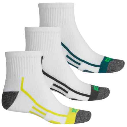 Prince High-Performance Plus Socks - 3-Pack, Quarter Crew (For Men) in White W/Blue/Gray/Spring - Closeouts