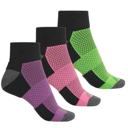 Prince High-Performance Plus Socks - 3-Pack, Quarter Crew (For Women) in Black W/Lime/Pink/Purple - Closeouts