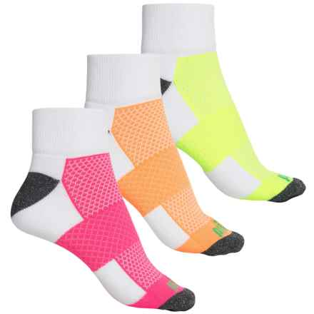 Prince High-Performance Plus Socks - 3-Pack, Quarter Crew (For Women) in White W/ Yellow/Mango/Pink - Closeouts