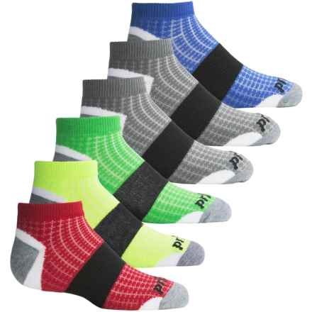 Prince Low-Cut Socks - 6-Pack, Ankle (For Big Kids) in White Diamond Mesh W/Multi - Closeouts