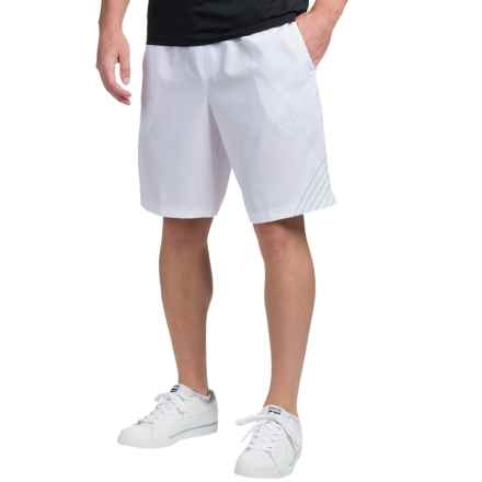 "Prince Stretch Woven Screenprint Tennis Shorts - 9"" (For Men) in White - Closeouts"