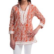 Print Cotton Tunic Shirt - Long Sleeve (For Women) in Orange - 2nds