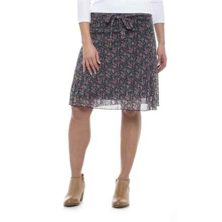 Print Midi Skirt - Fully Lined (For Women) in Pink Print - 2nds