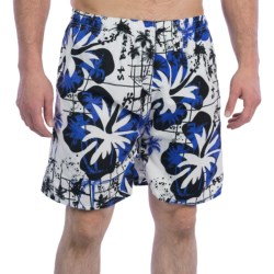 Print Swim Trunks - Built-In Briefs (For Men) in Yellow/Navy Multi Plaid