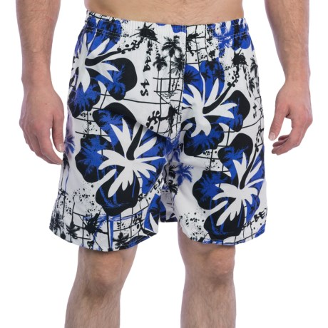 Print Swim Trunks - Built-In Briefs (For Men) in White/Black Hibiscus