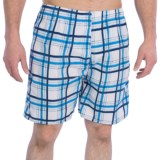 Print Swim Trunks - Built-In Briefs (For Men)