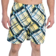 Print Swim Trunks - Built-In Briefs (For Men) in Yellow/Navy Multi Plaid - 2nds