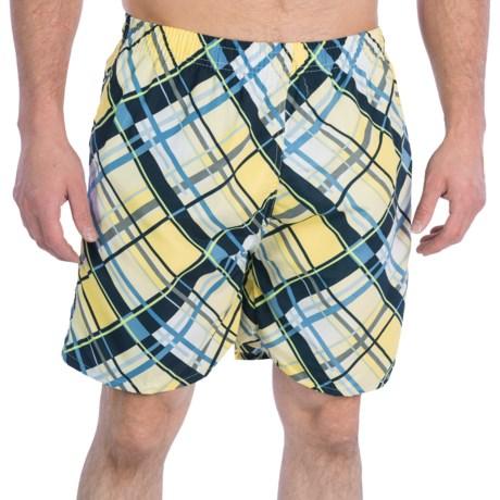 Print Swim Trunks - Built-In Briefs (For Men) in Yellow/Navy Multi Plaid