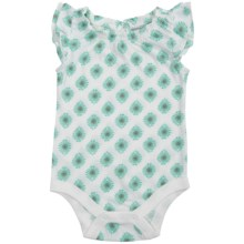 Printed Baby Bodysuit - Short Sleeve (For Infants) in Mint/Ruffled Neck - 2nds