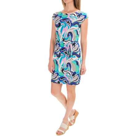Printed Boat Neck Dress - Sleeveless (For Women) in Blue - Closeouts