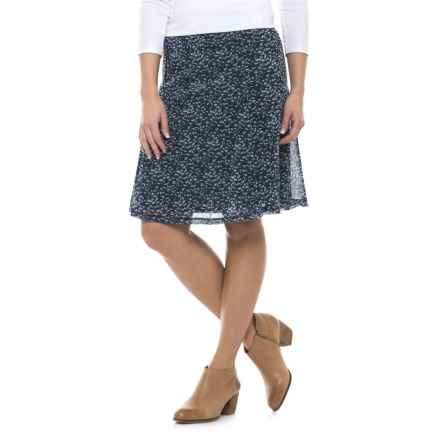 Printed Chiffon Skirt - Fully Lined (For Women) in Blue Print - 2nds