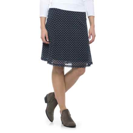Printed Chiffon Skirt - Fully Lined (For Women) in Navy Print - 2nds