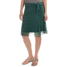 Printed Chiffon Stretch Skirt (For Women) in Green - 2nds