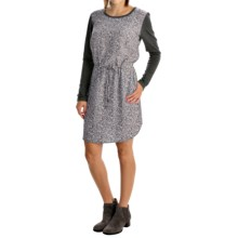 Printed Drawstring-Waist Dress - Long Sleeve (For Women) in Charcoal - 2nds