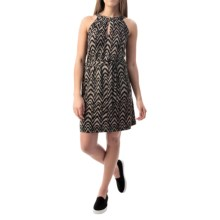 Printed Keyhole Dress - Sleeveless (For Women) in Black/Brown - 2nds